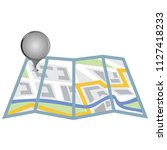 folding paper city map with... | Shutterstock .eps vector #1127418233