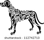Stock vector dog tattoo vector animal with floral ornament decoration use for tattoo or any design you want 112742713