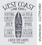 california wave rider longboard ...   Shutterstock .eps vector #1127591483