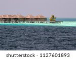 maldives on water bungalow...   Shutterstock . vector #1127601893