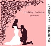 invitation card with the bride... | Shutterstock .eps vector #1127655287