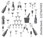 champagne icons. cheering... | Shutterstock .eps vector #1127667653