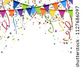 colored garlands  streamers and ... | Shutterstock .eps vector #1127686097