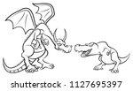 dragon againts tyrannosaurus... | Shutterstock .eps vector #1127695397
