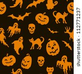 halloween seamless pattern with ...   Shutterstock .eps vector #112771237