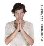 Praying male isolated on white background - stock photo
