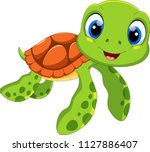 cute sea turtle cartoon... | Shutterstock .eps vector #1127886407