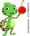 cute chameleon cartoon with... | Shutterstock .eps vector #1127886413