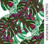 tropical pattern. seamless... | Shutterstock .eps vector #1127887553