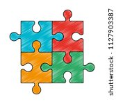 jigsaw pieces isolated scribble | Shutterstock .eps vector #1127903387