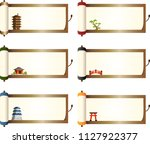 japanese scroll set | Shutterstock .eps vector #1127922377