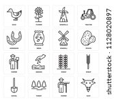 set of 16 icons such as goat ...