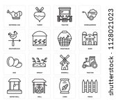 set of 16 icons such as fence ...