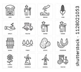 set of 16 icons such as tractor ...