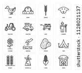 set of 16 icons such as barn ...