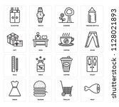 set of 16 icons such as meat ...