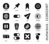 set of 16 icons such as slide ...