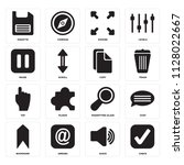 set of 16 icons such as check ...