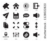 set of 16 icons such as mute ...
