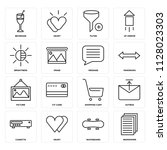 set of 16 icons such as... | Shutterstock .eps vector #1128023303