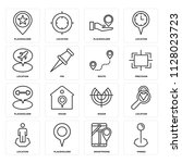set of 16 icons such as pinned  ...