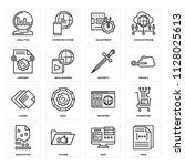 set of 16 icons such as data ...