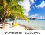 beautiful beach on bora bora...   Shutterstock . vector #112803997