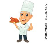 a chef holding a roasted... | Shutterstock .eps vector #1128075377