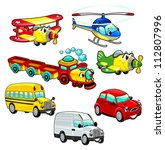 Funny vehicles. Cartoon and vector isolated characters. - stock vector