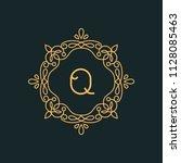 q letter luxury logo template...   Shutterstock .eps vector #1128085463