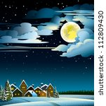 Winter landscape with snow houses, forest and fool moon - stock vector
