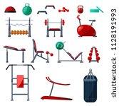 sport gym equipment flat set... | Shutterstock .eps vector #1128191993