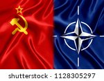 flag of nato and the ussr silk | Shutterstock . vector #1128305297