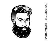 vector bearded men face hipster ... | Shutterstock .eps vector #1128307223