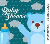 blue toy bear and feeding... | Shutterstock .eps vector #1128322223