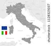 grey vector map of italy with...   Shutterstock .eps vector #1128325037