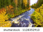 autumn forest river landscape.... | Shutterstock . vector #1128352913