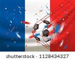 france wins. ball in a net.... | Shutterstock .eps vector #1128434327