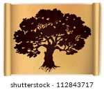 Tree on old scroll paper. Vector illustration - stock vector