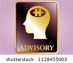 gold badge with head with... | Shutterstock .eps vector #1128455003