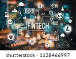 cryptocurrency fintech theme... | Shutterstock . vector #1128466997