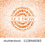 act now orange mosaic emblem... | Shutterstock .eps vector #1128468383
