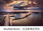 automobile and railroad bridge...   Shutterstock . vector #1128481553