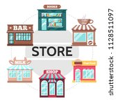 flat store facades round concept | Shutterstock .eps vector #1128511097