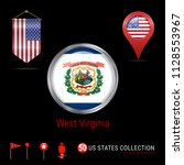 round badge with west virginia... | Shutterstock .eps vector #1128553967