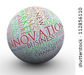 3d Illustration of innovation wordcloud ball - stock photo