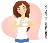 girl making heart shape | Shutterstock .eps vector #112857727