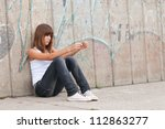 cute lonely teenage girl... | Shutterstock . vector #112863277