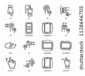 set of 16 icons such as swipe...
