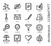 set of 16 icons such as fire ...